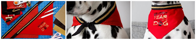 "Red bandana that reads ""Every Year is the Year of the Dog"" decorated with black and gold trim"