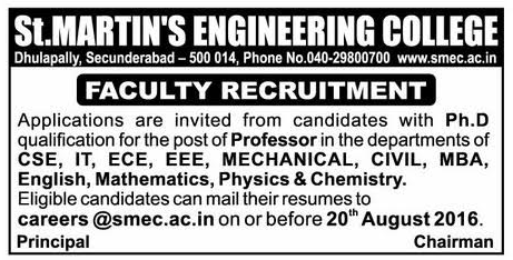 St Martin's Engineering College Wanted Professor