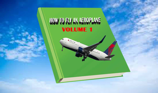 "A green book with a title ""how to fly and aeroplane Volume 1. I t has a  blue sky as the background"