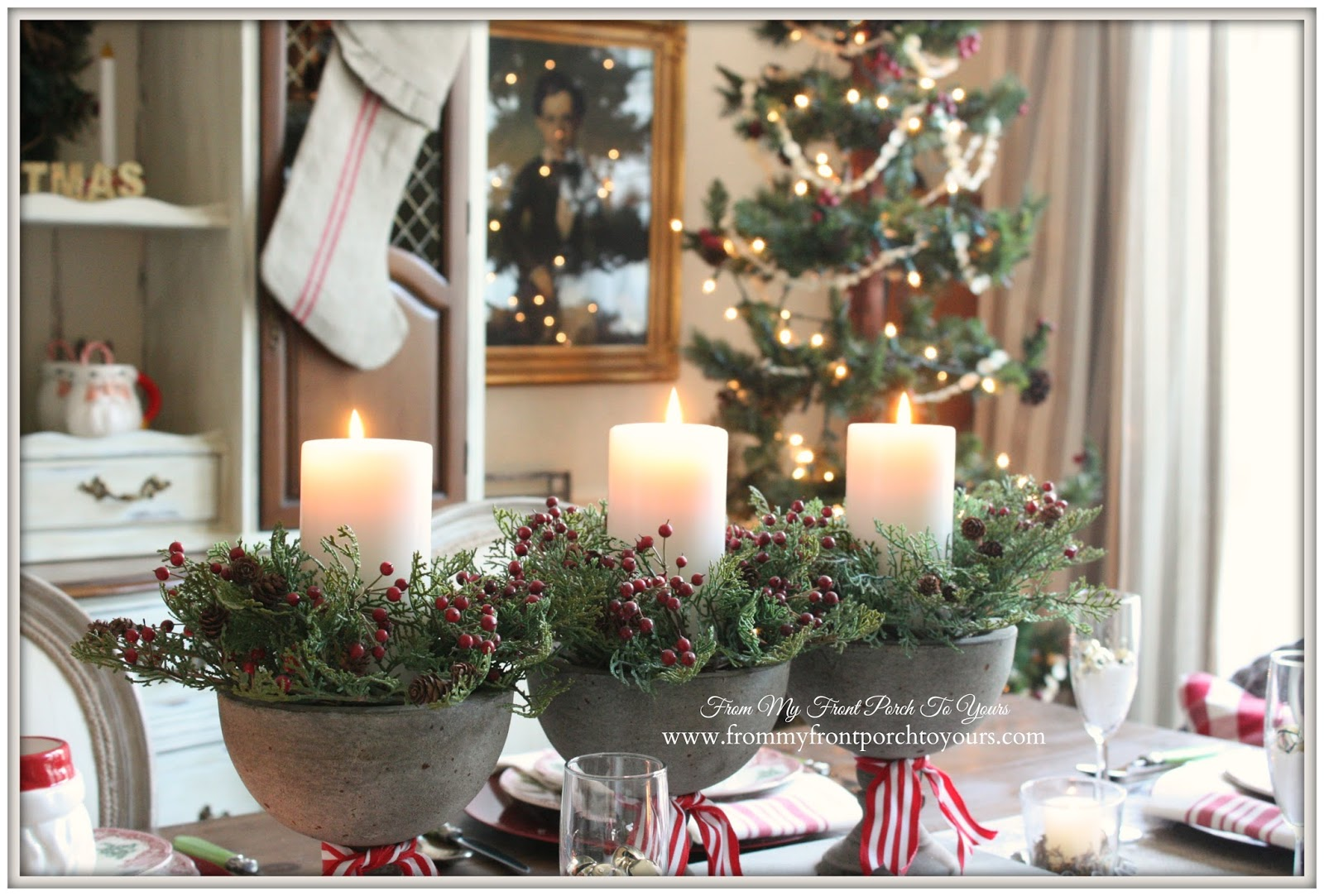 From my front porch to yours french farmhouse vintage for Christmas dining room table decorations