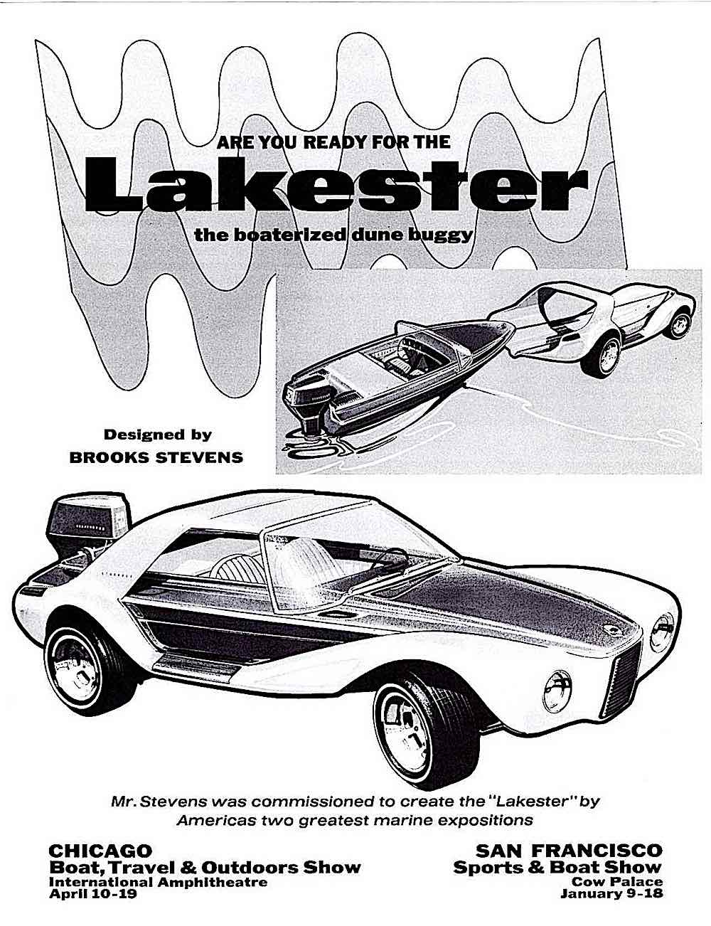 a Brooks Stevens 1970 Lakester combination boat and dune buggy
