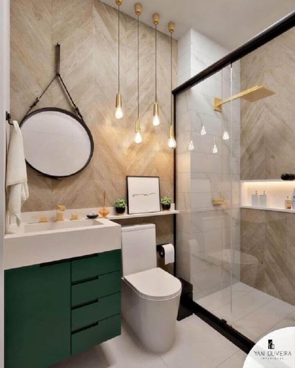 Decoration with round mirror for luxury bathroom