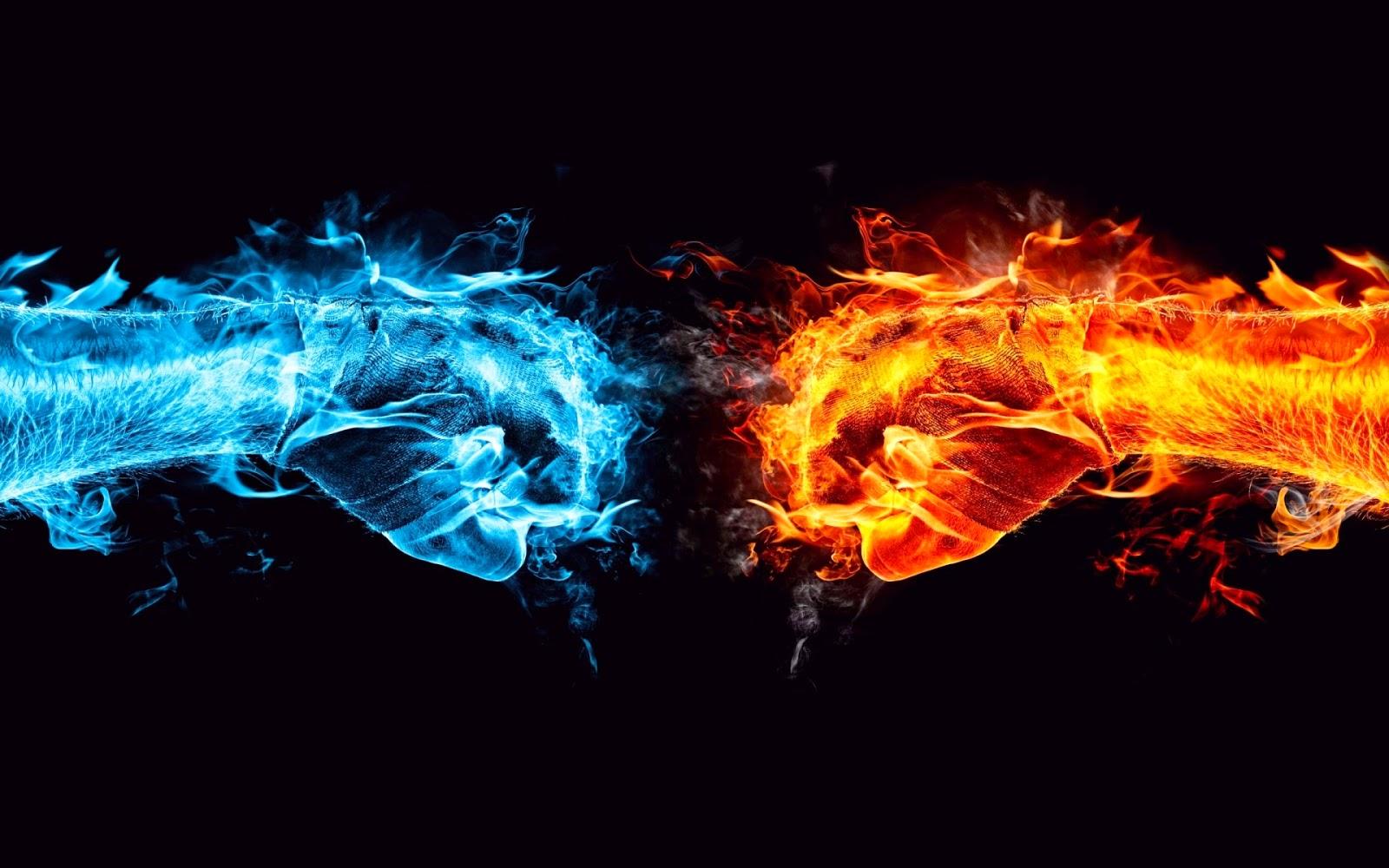 Achtergrond met handen van vuur en water