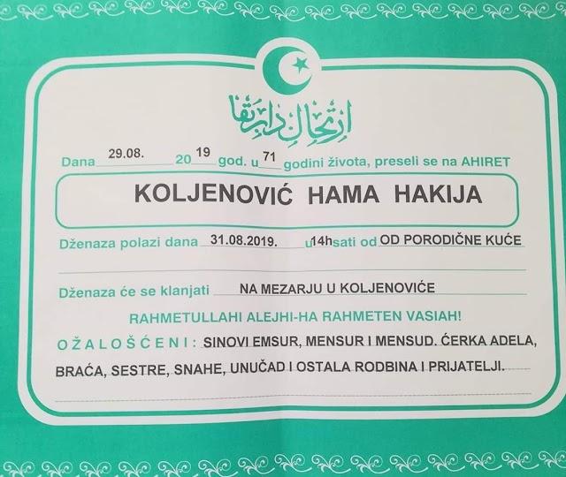 Na ahiret preselio Koljenović Hama Hakija