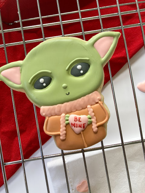 baby yoda decorated cookie valentine