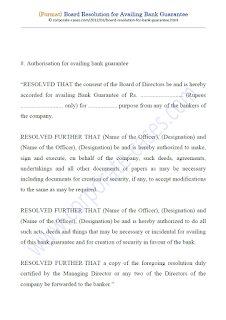 board resolution for obtaining bank guarantee