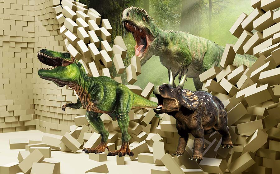 3D PSD Dinosaurs Wall Background