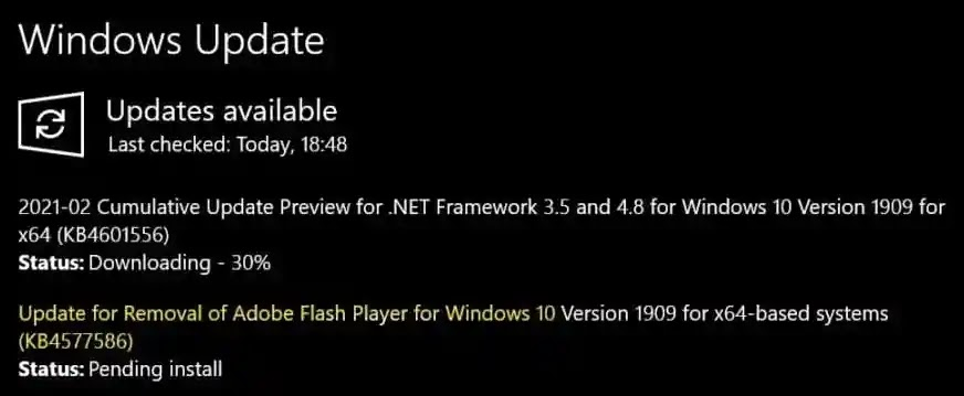 Windows 10's new update that Adobe Flash Player will be automatically removed