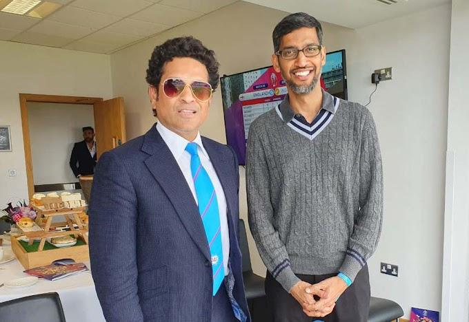 Pichai meets Sachin at the World Cup