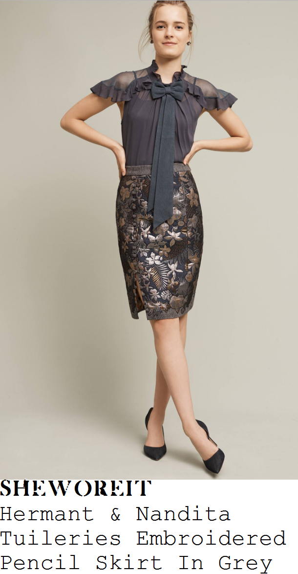 holly-willoughby-hermant-and-nandita-tuileries-dark-grey-silver-and-gold-embroidered-floral-jacquard-high-waisted-button-side-detail-pencil-skirt
