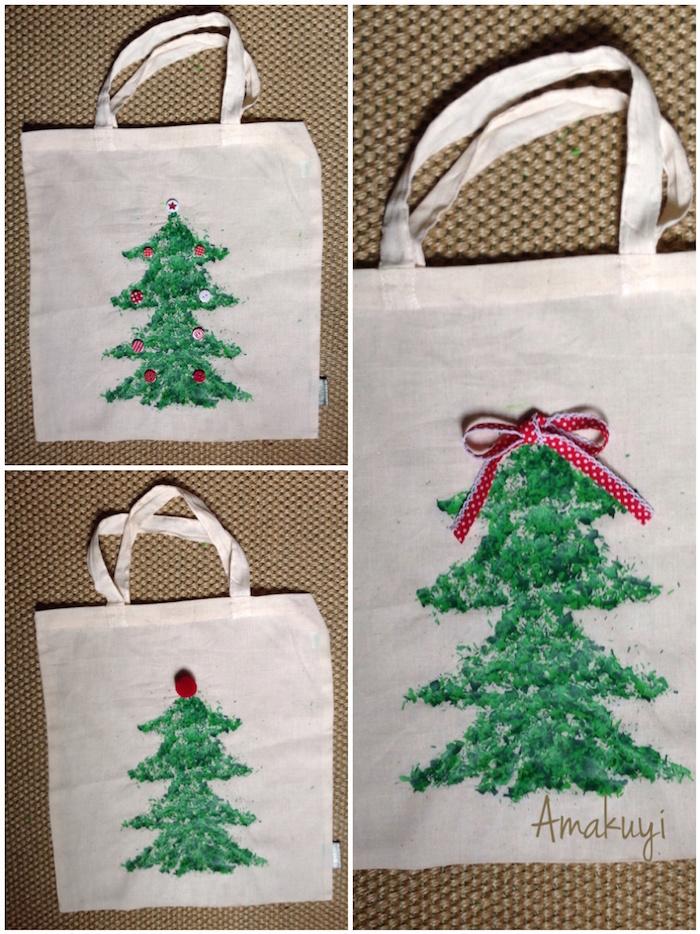 paso a paso de la tote-bag con pinturas y plancha con forma de árbol de Navidad