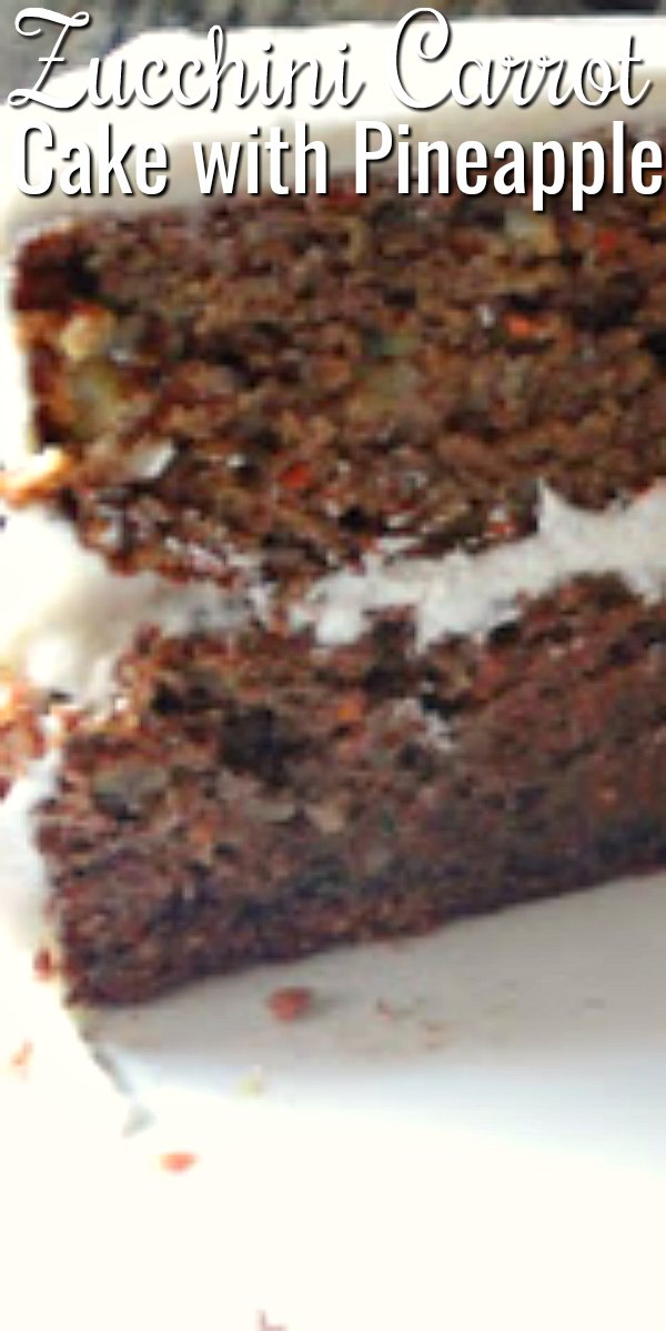 A slice Zucchini Carrot Cake with Pineapple and Cream Cheese Frosting on a white plate.