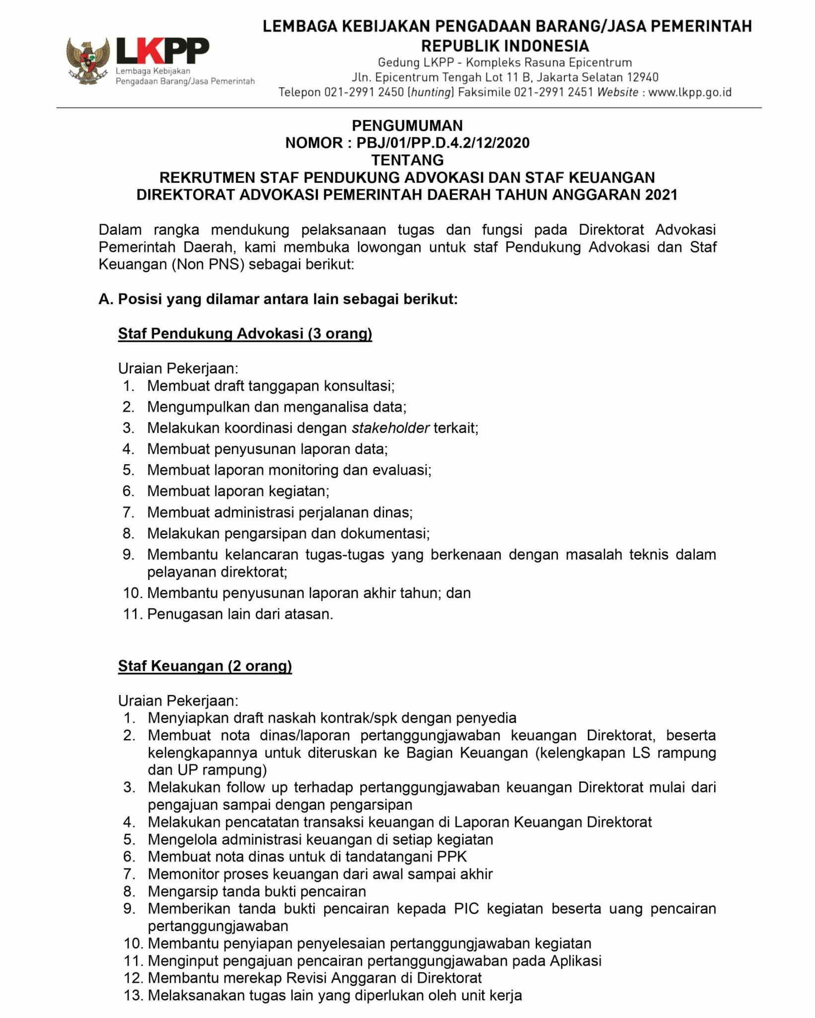 Lowongan Kerja Direktorat Advokasi Pemerintah Daerah LKPP