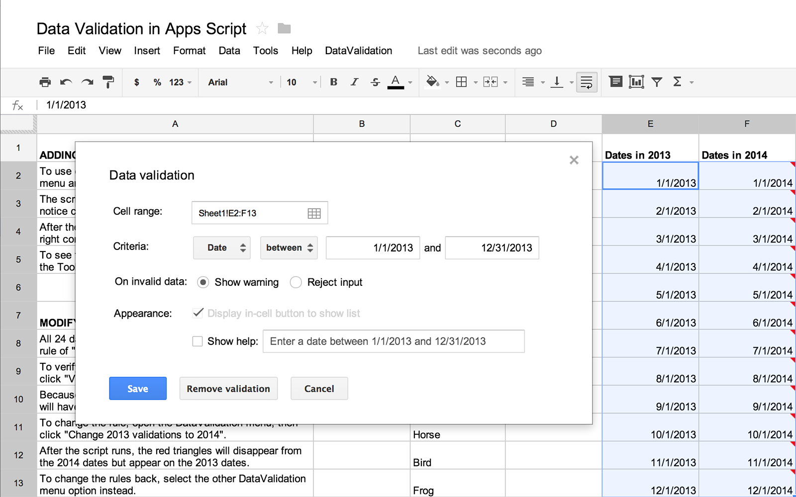 G suite developers blog answering another top request data for the last few months scriptable access to the data validation feature in sheets has been the most requested feature on the apps script issue tracker baditri Image collections