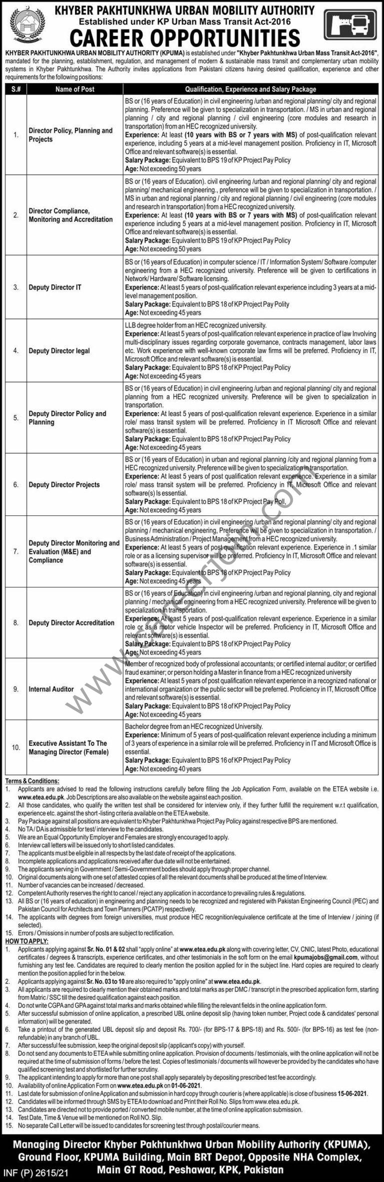 Khyber Pakhtunkhwa Urban Mobility Authority KPUMA Jobs 2021 in Pakistan