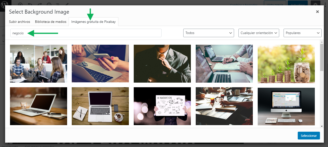 seleccionar imagenes wordpress