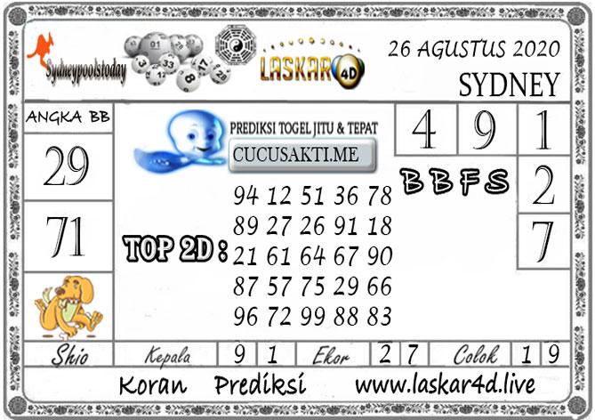 Prediksi Togel SYDNEY LASKAR4D 26 AGUSTUS 2020