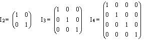 Matriz Identidad de Orden 2 (2x2), Orden 3 (3x3) y Orden 4 (4x4)