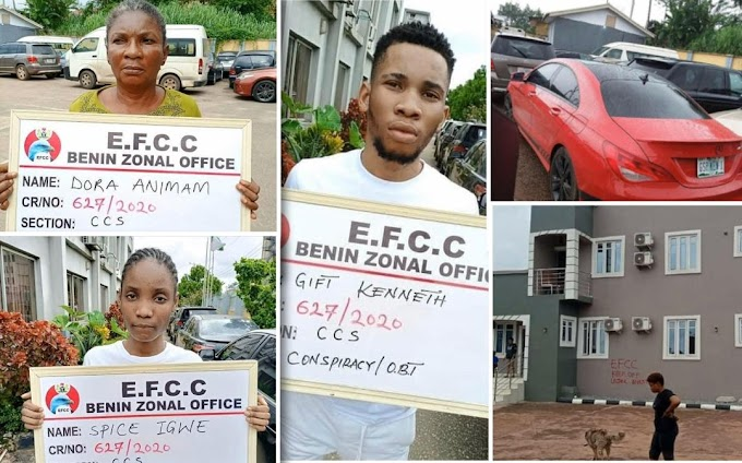 22-year-old boy, mother and girlfriend arrested by EFCC for suspected internet fraud (See Photos)