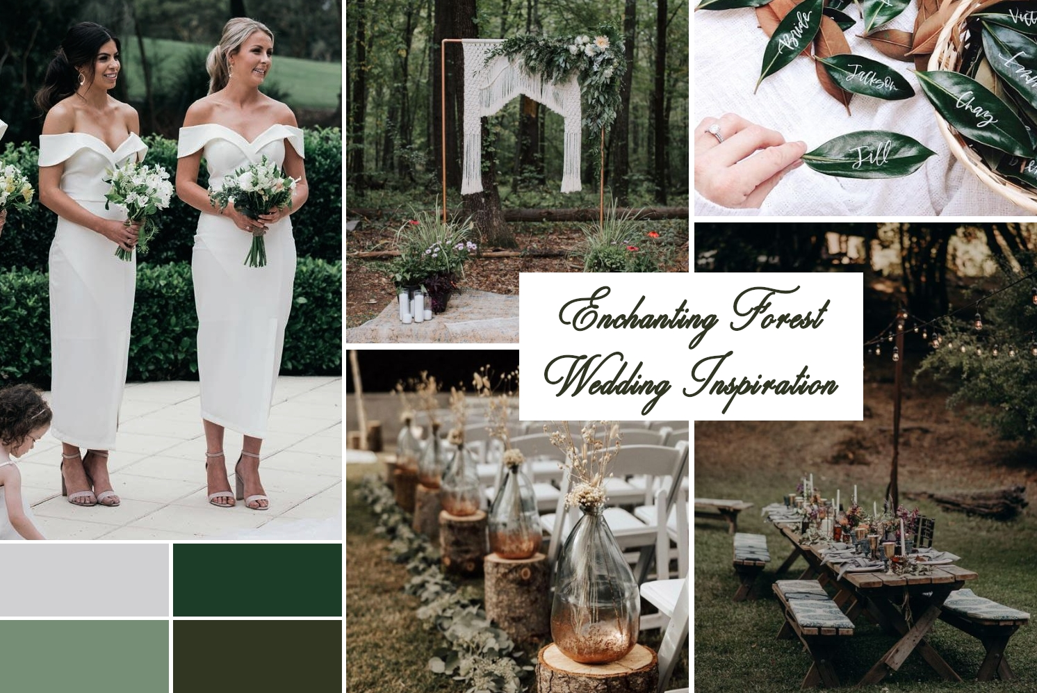 green wedding theme collage