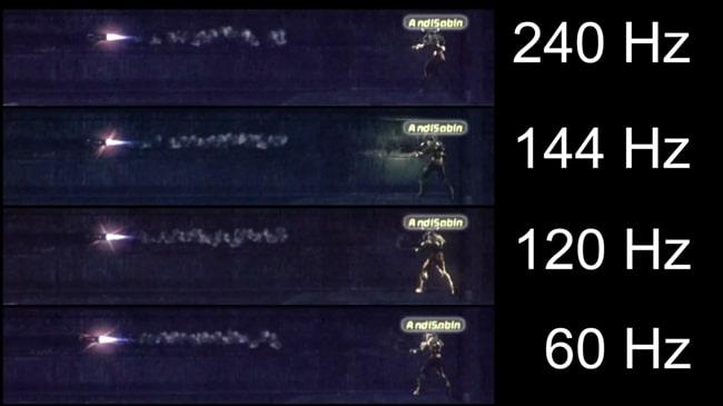 Difference between various refresh rates of display - 240Hz, 144Hz, 120Hz, and 60 Hz.