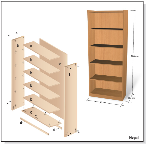 Plano muebles en melamina estante biblioteca proyecto 1 for Manual para muebles de cocina