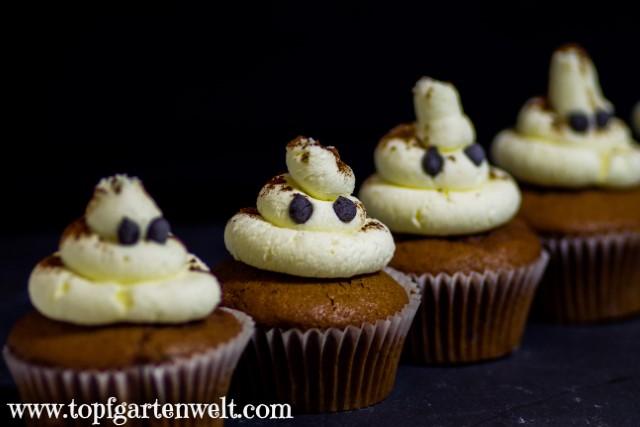 Geister-Cupcakes für Halloween mit Schokolade und Obers-Mascarpone-Topping - Foodblog Topfgartenwelt