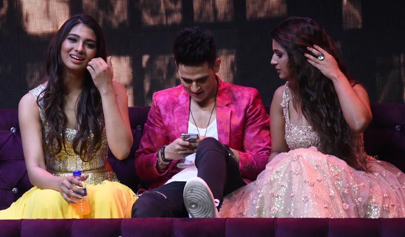 Priyank Sharma and Naina Singh on the set of India's Next Superstars