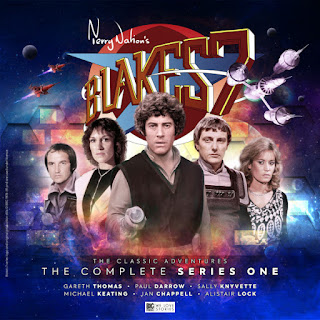 Cast fronted by Blake, with Blakes 7 logo in background