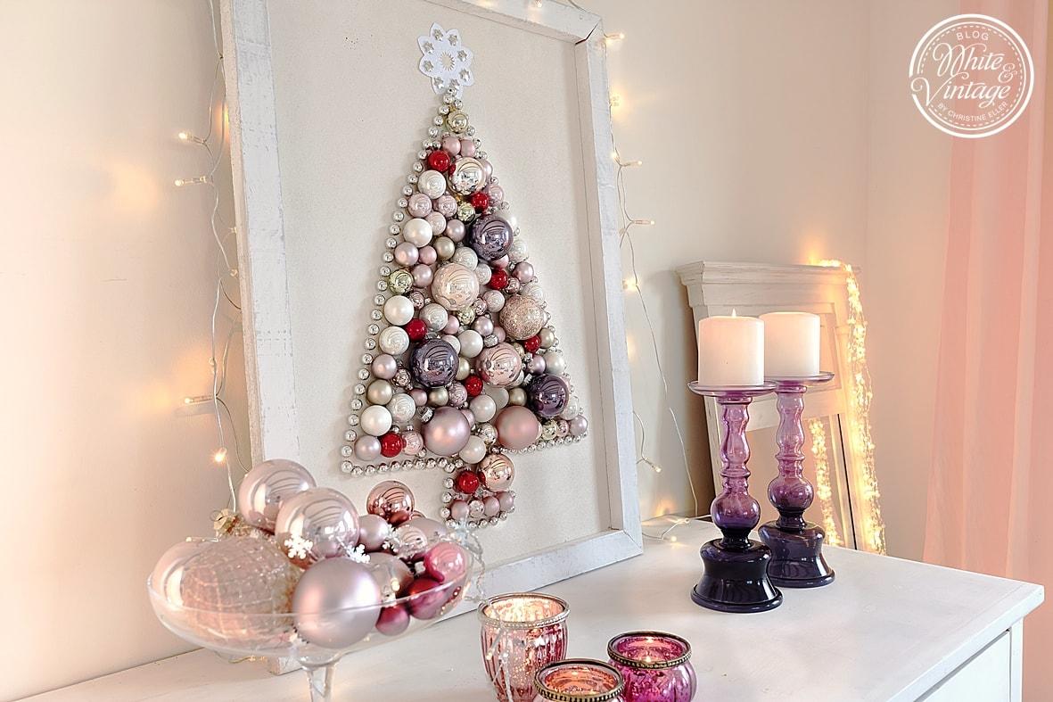 diy weihnachtsdeko weihnachtsbaum aus weihnachtskugeln white vintage. Black Bedroom Furniture Sets. Home Design Ideas