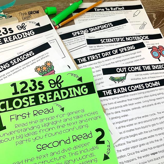 seasonal close reading activities for kids