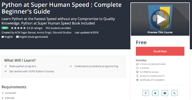 [100% Free] Python at Super Human Speed : Complete Beginner's Guide