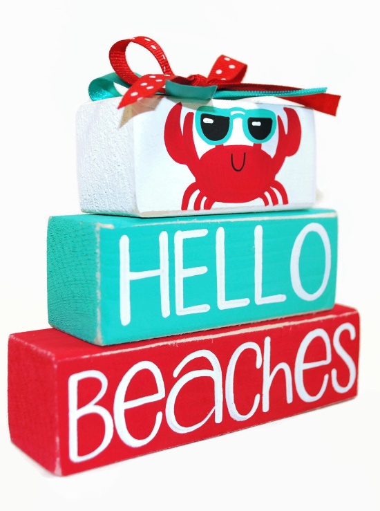 Decorative Wood Blocks with Beach Sayings