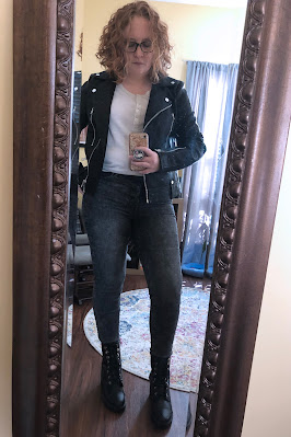 topshop leather jacket black jeans combat boots