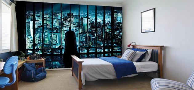 Batman Wall Mural Window Boys Room