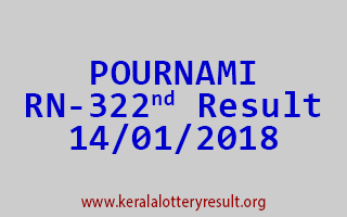 POURNAMI Lottery RN 322 Results 14-01-2018