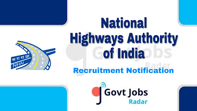 NHAI recruitment notification 2019, govt jobs in India, central govt jobs, govt jobs for civil engineers,