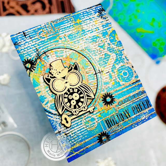 heat emboss,cards,color,My Monthly Hero October 2021,ink,cardmaking,stamping,christmas,papercraft,Cardbomb,Maria Wills,paper,coloring,stamps,Hero Arts, mixed media, grunge, steampunk