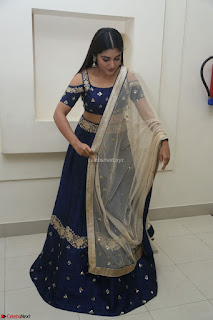 Niveda Thomas in Lovely Blue Cold Shoulder Ghagra Choli Transparent Chunni ~ Exclusive Celebrities Galleries 088