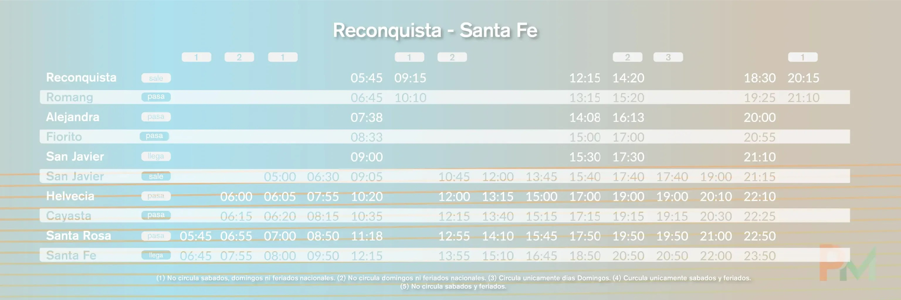 Horarios Parana Medio Santa Fe