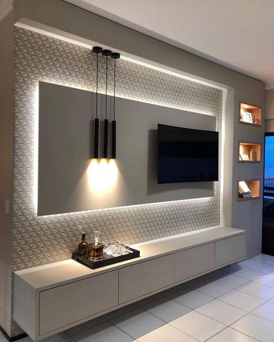 rack branco painel tv iluminaçã led branco papel de parede 3d fundo