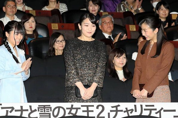 Princess Mako and Princess Kako attended the charity premiere of the film Frozen 2 at Toho Cinemas Roppongi Hills in Tokyo