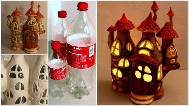 Απίστευτο φωτεινό ...Νεραϊδόσπιτο από πλαστικά μπουκάλια & πηλό