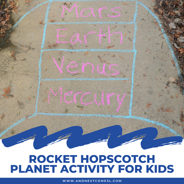 Rocket hopscotch planet activity for kids