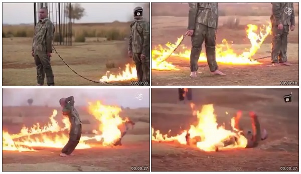 لحظة حرق 2 جنود أتراك على أيدي الجماعة الإرهابية داعش