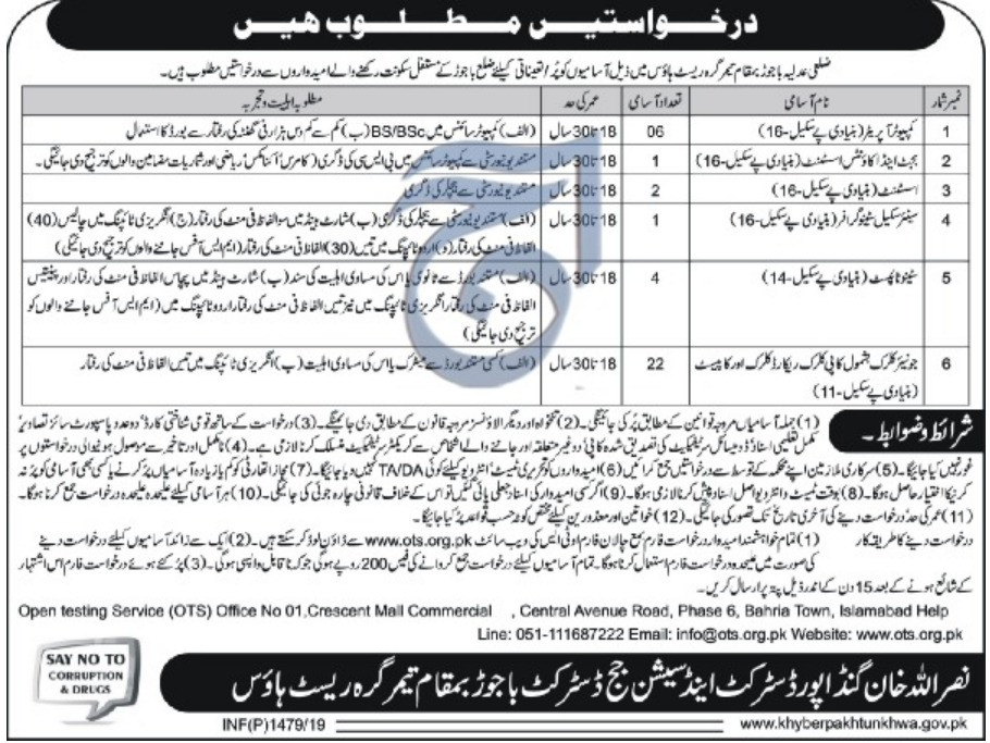 District & Session Court Bajaur Jobs 2019 by OTS