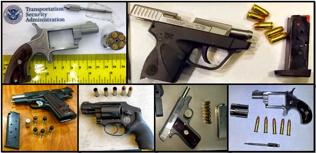 Clockwise from top left, firearms discovered in carry-on bags at: TUL, HOU, ATL, BNA, GSP & ATL