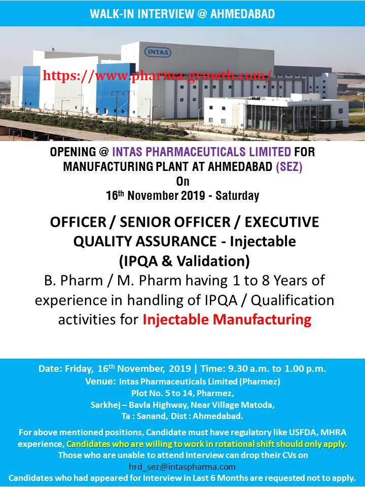 Intas Pharmaceuticals Pvt Ltd – Walk in interview for Quality Assurances on 16th Nov' 2019