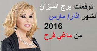 توقعات برج الميزان لشهر اذار/ مارس 2016 من ماغي فرح