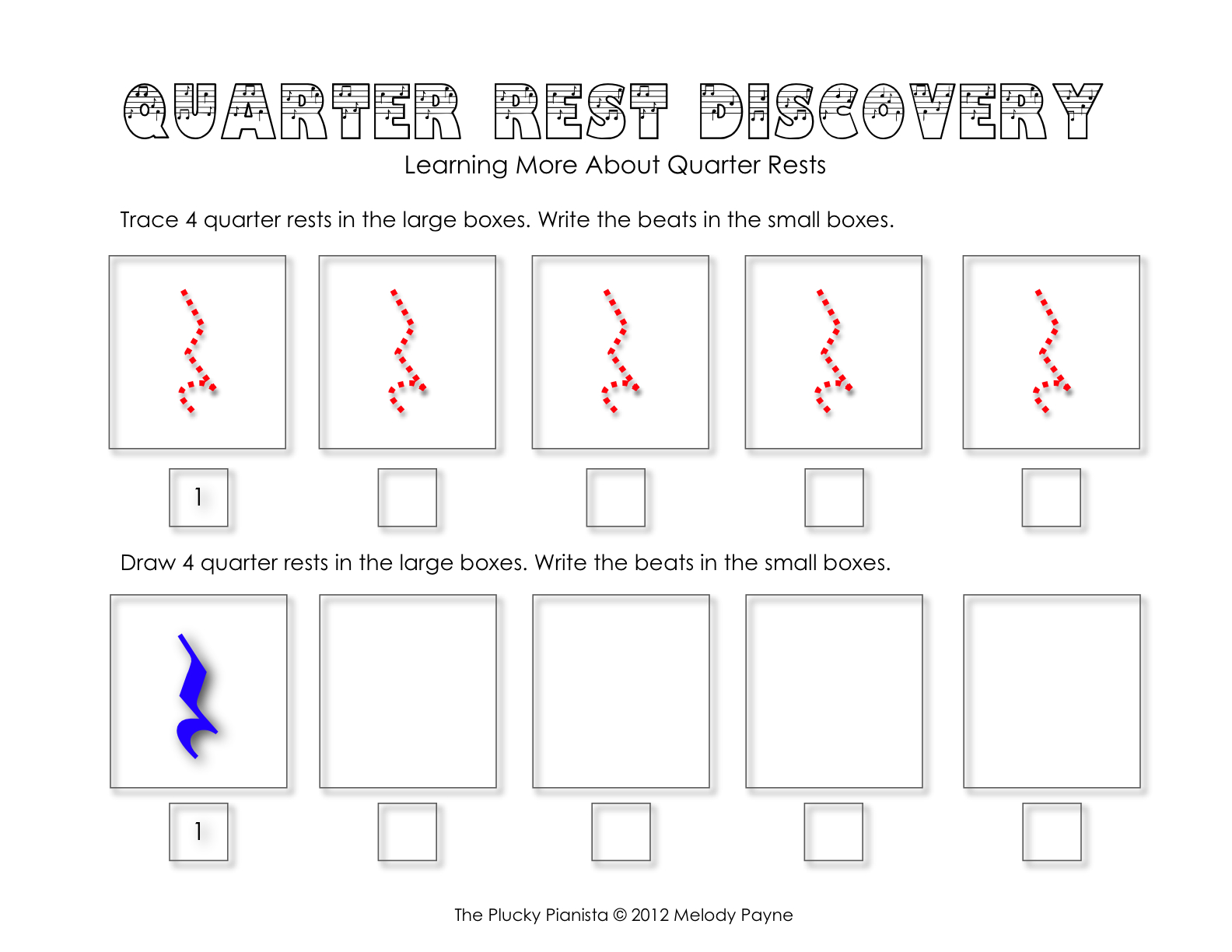 Half Note And Quarter Rest Discovery Sheets